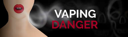 Vaping Danger Banner with Copy Space, Skull and Smoking Woman. Realistic 3d vector illustration of model girl blowing smoke Standard-Bild - 141343860