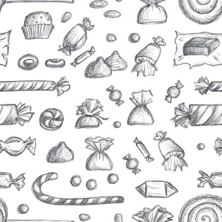 Sketched candy seamless pattern. Engraved doodle sweets endless background with chocolate in wrapper, caramel sketch, lollipop, toffee, sketchy candies. Hand drawn vector imitation