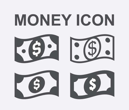 Paper dollar or dollar bill vector icon isolated on white background. Set of wavy flying cash dollars illustration