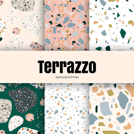 Terrazzo vector seamless pattern in modern, trend colors. Set of colored stone flooring illustration, marble floor texture background for for interior, fabrics, wallpaper and packaging design