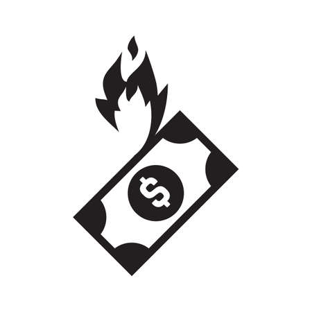 Fire money vector icon, burn cash illustration isolated on white background. Burning dollar sign, flame money or banknote symbol