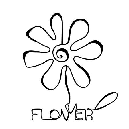 Continuous thin line flower vector illustration, minimalist botanical sketch doodle. One line art flowering blossom icon, single floral outline drawing or simple plant