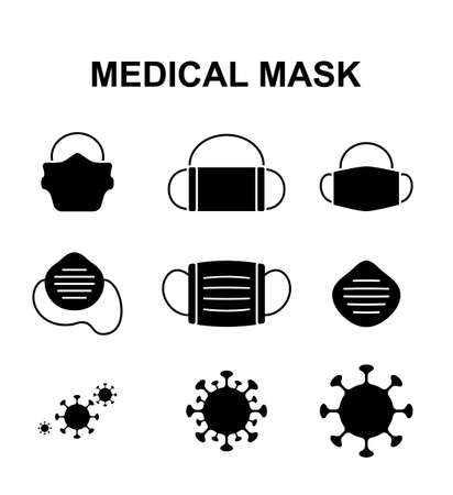 Set of virus protective medical mask icon, cough protect mask symbol isolated