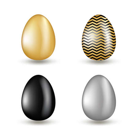 Gold eggs collection with black geometric pattern. Set of golden eggs on transparent background for Easter design, gift cards or investment concept. Realistic vector 3d illustration
