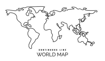 Continuous line world map illustration. Simple one line earth contour, vector monoline global map sketch, minimal linear map design, single outline drawing Ilustracja