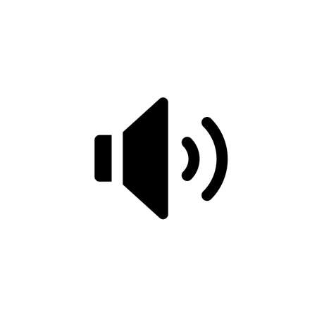 Sound vector icon. Black speaker pictogram, loud icon, flat audio button, noise symbol, audio graphic element isolated on white background Ilustracja