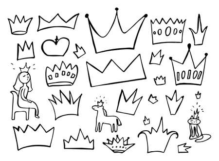 Black crown doodle elements isolated on white background. Set of sketchy crowns vector illustration. Hand drawn imitation