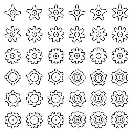 Gear thin line icon collection isolated on white background. Set of cogwheels or gearwheels. Config settings symbols, gears signs, sprocket silhouettes, spoke graphic elements vector illustration