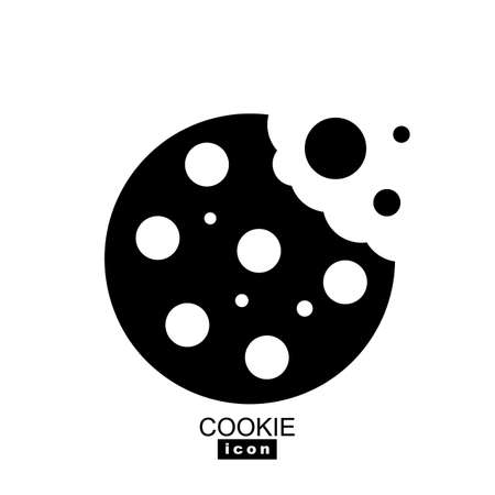 Simple cookie icon vector illustration. Oatmeal sugar bitten cookies silhouette. Round black and white biscuit symbol isolated Ilustracja