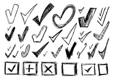 Set of different sketched check marks. Tick symbols collection, checkmark signs, simple accept icons, ok and yes mark, correct symbol, checkbox vector illustration. Hand drawn imitation Ilustração
