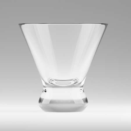 Empty transparent triangular glass for cosmopolitan cocktail, vermouth or drinking shots at the bar. Realistic 3d render illustration of blank glassy stemware