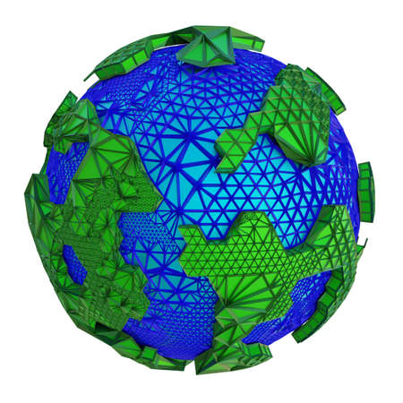 3d rendered abstract planet illustration. Futuristic world globe with oceans and green continents isolated