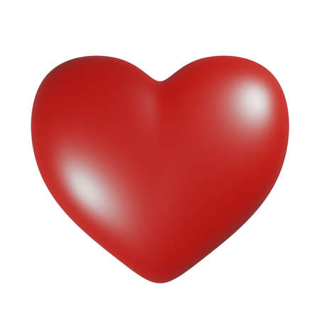 Simple red heart icon isolated on white background. 3D rendering illustration