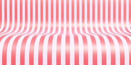 Empty striped showroom background for products exhibition. 3d rendered candy pink illustration of table, stage, platform, studio backdrop or podium for shoot render