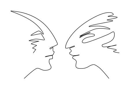 One Line Drawing Male Profile Faces. Rival Confrontation Concept in Sketch Art Style, Continuous Line Draw Heads, Human Emotions Single Outline Illustration