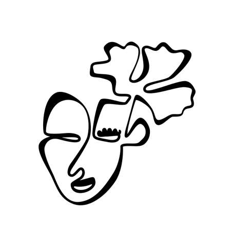 Abstract One Line Drawing Woman Face with Flower. Trendy Female Portrait Art for Interior Design, Picture Printing, Continuous Line Draw Head, Single Outline Girl Head Illustration Ilustracja