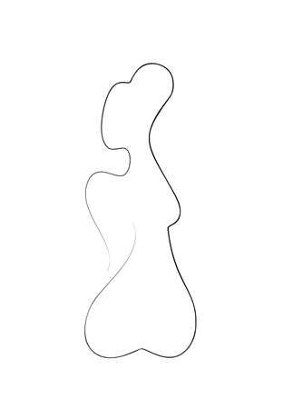 One Line Drawing Female Body. Beauty Woman Back in Sketch Art Style, Continuous Line Draw Girl Figure, Single Outline Illustration for Interior Design, Picture Printing