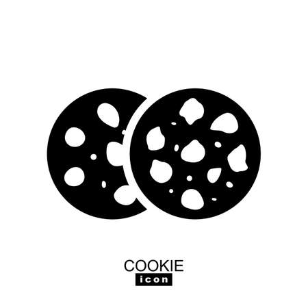 Simple cookie icon illustration. Oatmeal sugar bitten cookies silhouette. Round black and white biscuit symbol isolated
