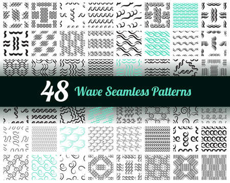 Wave seamless pattern or hand drawn modern background with sea waves. Ocean endless icon pattern isolated on white