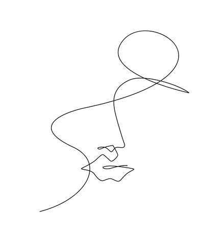 One Line Drawing Woman Face. Beauty Female Portrait in Sketch Art Style, Continuous Line Draw Head, Single Outline Girl Head Illustration Ilustracja