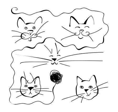 Abstract One Line Drawing Cat Face Collection. Trendy Cats Portrait Art for Interior Design, Picture Printing, Continuous Line Draw Kitty Head, Single Outline Animal Heads Illustration Ilustracja