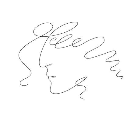 One Line Drawing Male Profile Face. Minimalist Man Portrait in Sketch Art Style, Continuous Line Draw Head, Single Outline Illustration