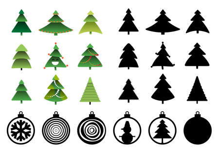 Christmas tree silhouettes for laser cut. Xmas balls and spruce, new year pines holiday silhouettes and shapes vector illustration