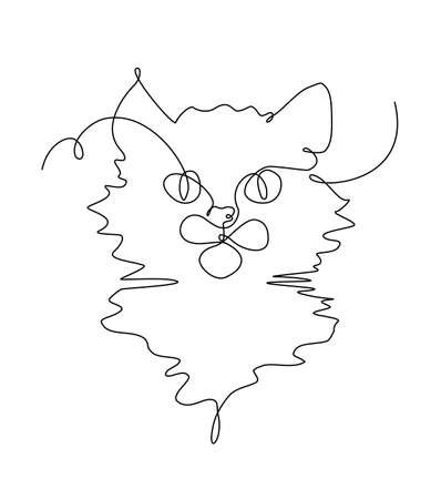 One Line Drawing Kat Portrait. Kitten in Sketch Art Style, Continuous Line Draw Kitty, Single Outline Illustration