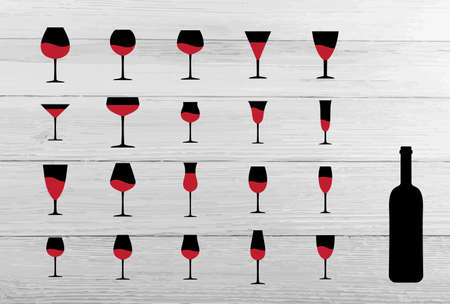Wine Glass and Bottle Silhouettes for Laser Cut. Wineglass and Black Flask Illustration