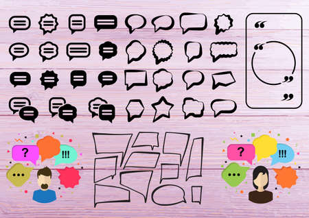 Speech Bubbles or Quiz Icons for Laser Cut. Thought Bubbles Set with Avatar, Illustration