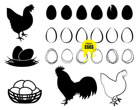 Bio Organic Eggs Collection. Farm Egg Logo.