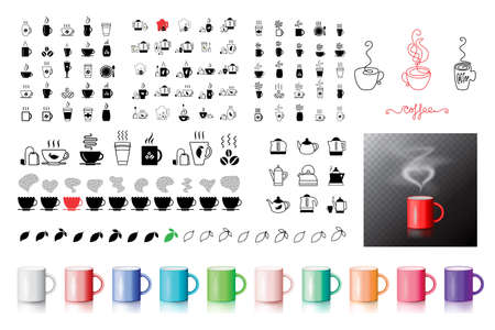 Coffee symbol icons collection. Big set of vector drinks, beverages signs