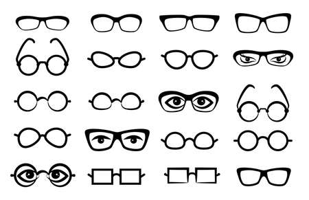 Eye glasses icon isolated on white background. Simple sunglasses or optical symbol, logo, rim