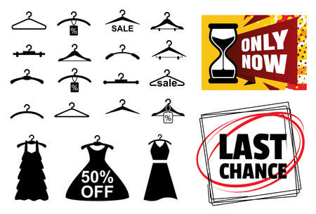Clothes Hanger Icon for Sale Design. Sale Dress Banners with Hangers
