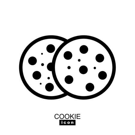 Simple cookie icon vector illustration. Oatmeal sugar bitten cookies silhouette or logo. Round black and white biscuit symbol isolated Vectores