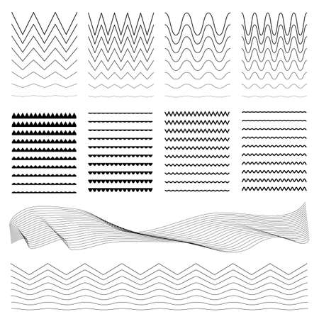 Set of zigzag borders. Wavy lines, symbols, sinuous curves. Horizontal curvy line, decorative footer collection