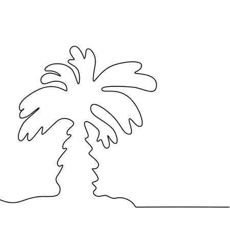 One Line Drawing Palm Tree. Beauty One Line Drawing Palm Tree Vectores