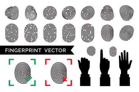 Finger print vector icons. Fingerprint collection. Thumbprint sign set isolated on white background. Individual data protection or biometric scan symbols