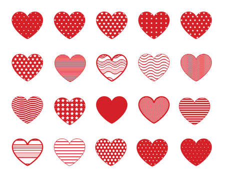 Heart symbol icons with lines, dots and stars patterns. Red vector hearts shapes