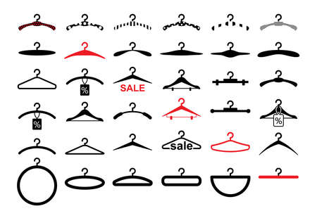 Clothes Hanger Icons Set, Dresses on Rack Symbols.