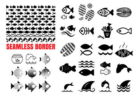 Set of Fish Icons and Wave Seamless Borders Isolated. Fishing or Seafood Template for Logo Design