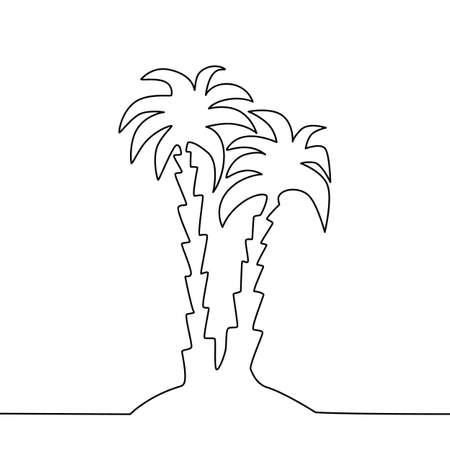 One Line Drawing Palm Tree. Beauty One Line Drawing Palm Tree Ilustração