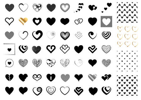 Heart symbol icon collection. Golden vector hearts shapes Illustration
