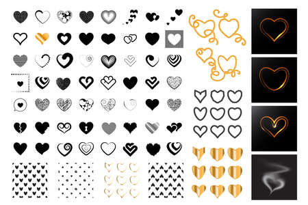 Heart symbol icon collection. Golden vector hearts shapes, love signs graphic elements, seamless pattern, heartbeat pictograms Vectores
