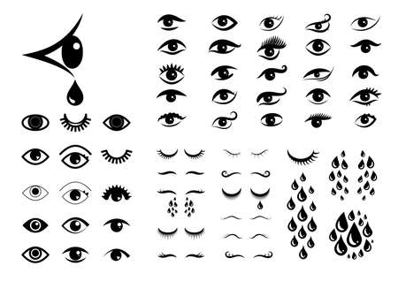 Set of different eyes icons. Human look with tears vector illustration