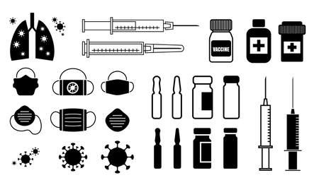 Ampoule with coronavirus vaccine icons. Virus and syringe vector illustration. Vaccine vial dose symbols, flu shot drug signs