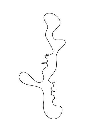 One Line Drawing Man and Woman Faces. Vectores