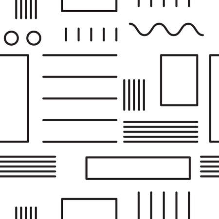 Abstract geometric seamless pattern with simple shapes such as circle, square and lines Illustration
