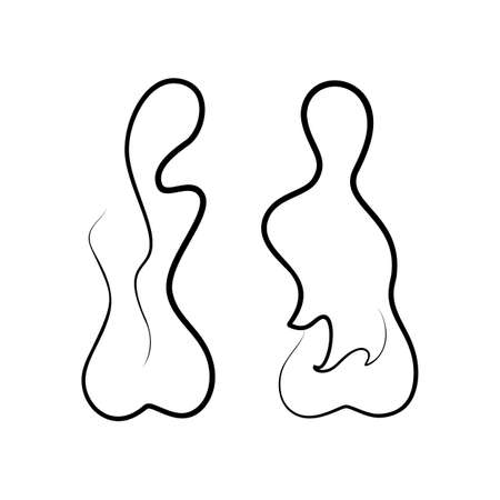 One Line Drawing Nude Female Body.