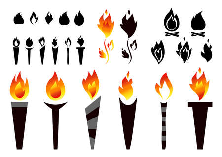 Fire torch, campfire and flames silhouettes vector set.